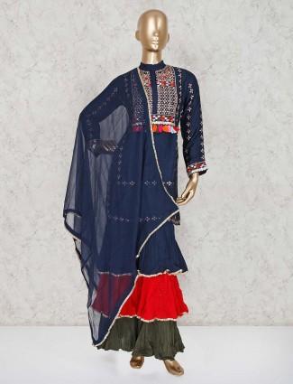 Navy silk party wear punjabi sharara suit
