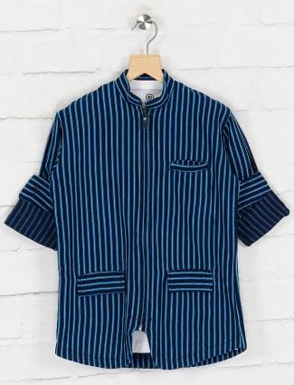 Navy stripe denim blazer