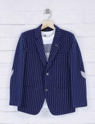 Navy stripe pattern terry rayon fabric blazer