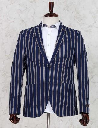 Navy stripe terry rayon fabric blazer