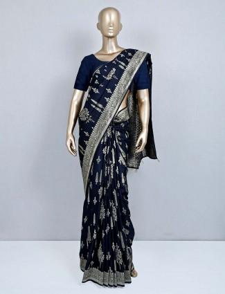 Navy weddig wear saree in muga silk