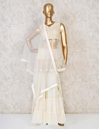 Net cream sharara salwar suit for festivals