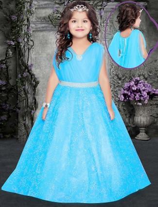 Net fabric aqua hue designer gown