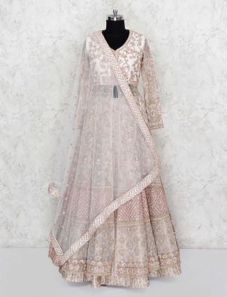 Net fabric pink color wedding indo western lehenga choli