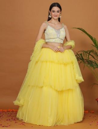 Net gorgeous yellow flair layer style lehenga choli