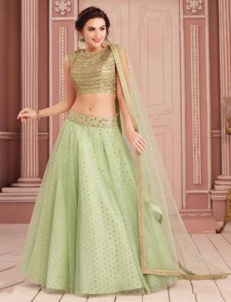 Net green wedding lehenga choli