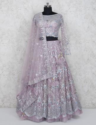 Net pink hue wedding wear lehenga choli