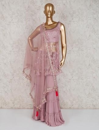 Net pink punjabi sharara suit