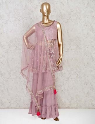 Net punjabi sharara suit in pink