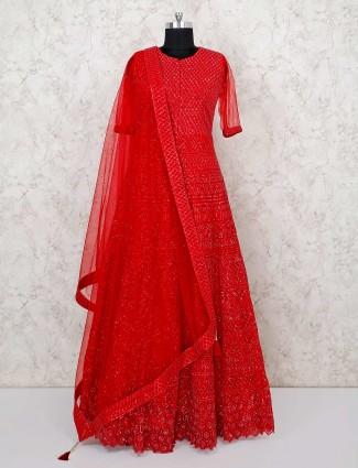 Net red wedding wear floor length anarkali suit