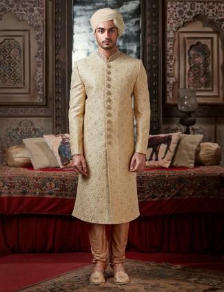 New stylish beige raw silk groom wear sherwani