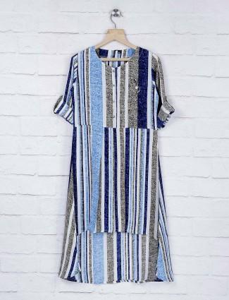 No Doubt casual wear blue color stripe pattern top