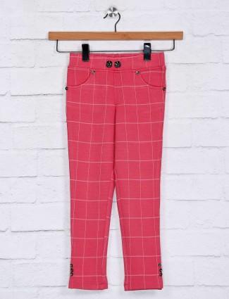 No Doubt cotton checks pink jeggings