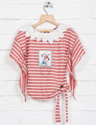 No Doubt dusty pink stripe design top