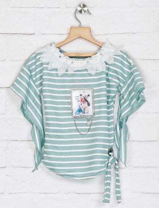 No Doubt stripe green cotton top