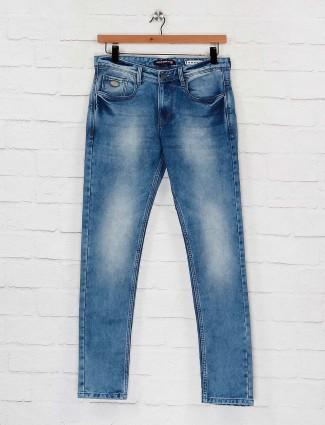Nostrum blue hue washed effect jeans