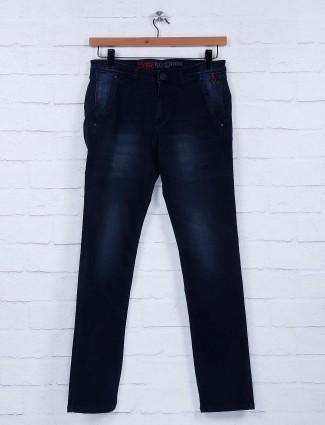 Nostrum denim fabric solid navy jeans
