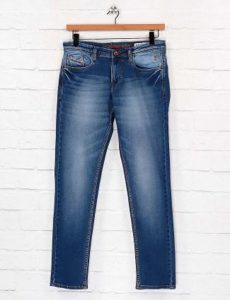 Nostrum washed blue colored slim fit jeans