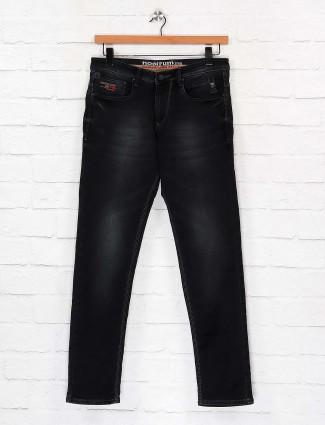 Nostrum whiskers effect solid black jeans