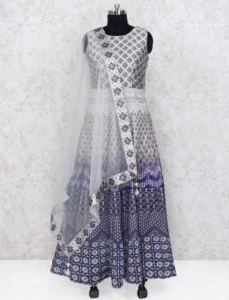 Off white and grey color printed cotton silk floor length anarkali salwar suit