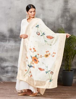 Off white banarasi silk punjabi palazzo suit