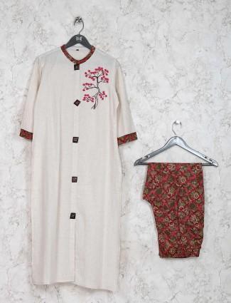 Off white color kurti set in cotton fabric