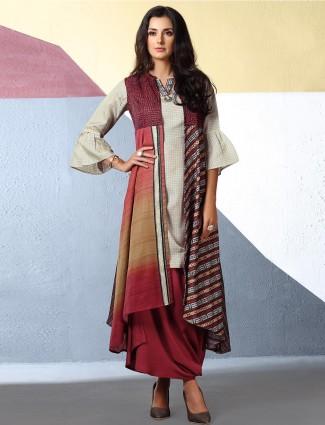Off white cotton designer kurti set