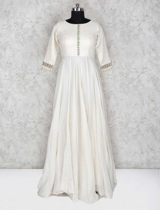 Off white cotton fabric festive floor length anarkali salwar suit
