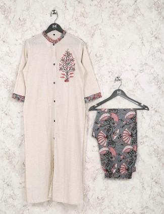 Off white cotton fabric kurti set