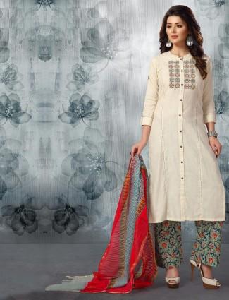 Off white cotton fabric punjabi palazzo suit