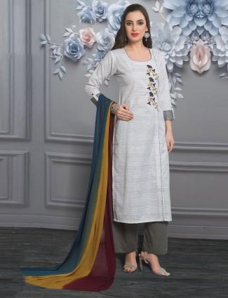 Off white cotton punjabi palazzo suit