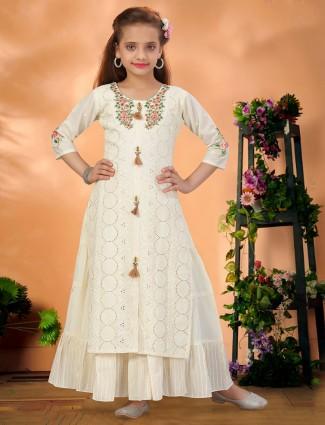 Off white cotton silk wedding function gown