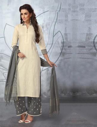 Off white festive wear cotton punjabi palazzo suit