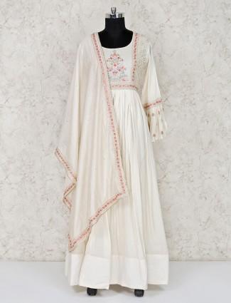 Off white floor length anarkali suit