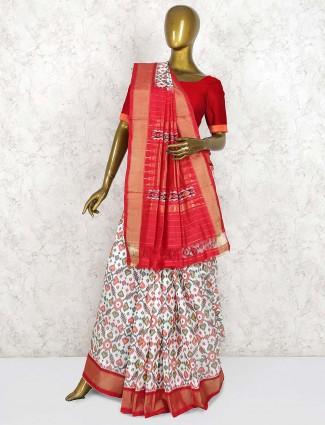 Off white hydrabadi patola silk wedding saree