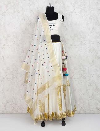 Off white lehenga choli in cotton fabric