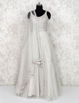 Off white net floor length anarkali salwar suit in georgette
