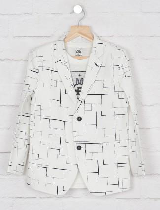 Off white printed terry rayon blazer