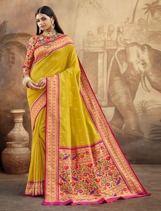 mustard banarasi paithani silk saree for wedding occasions