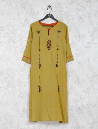 Olive green cotton fabric festive wear kurti set