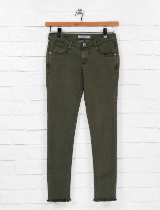 Olive green denim regular jeans