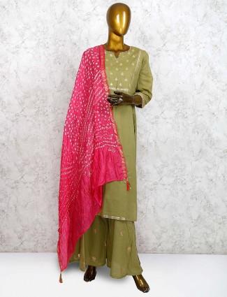 Olive green festive cotton silk punjabi palazzo suit
