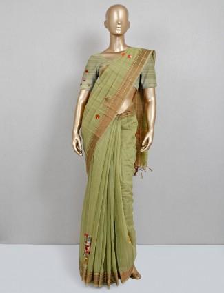 Olive green handloom cotton saree for festive