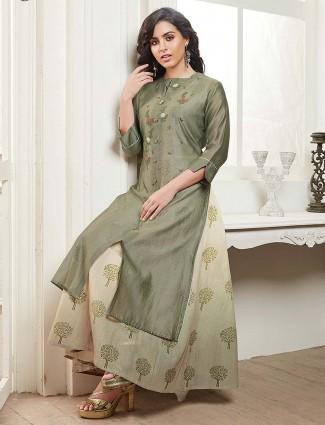 Olive green kurti in cotton fabric