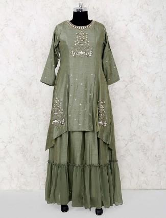 Olive green raw silk fabric designer salwar suit