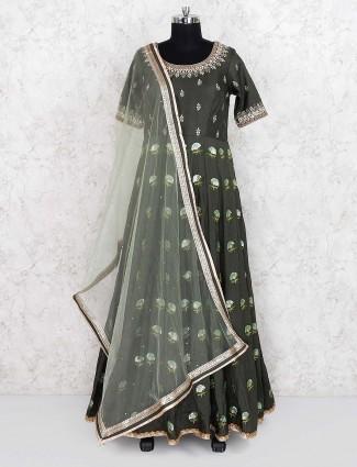 Olive green raw silk fabric floor length anarkali suit