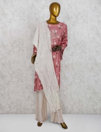 Onion pink cotton silk punjabi salwar suit
