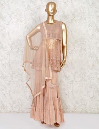 Onion pink net party designer sharara suit
