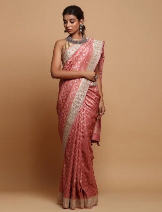 Onion pink premium tussar silk saree