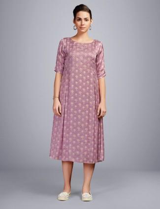 Onion pink printed cotton kurti